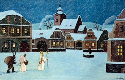 Josef Lada - Mikuláš, čert a anděl (oskenováno z pohlednice)